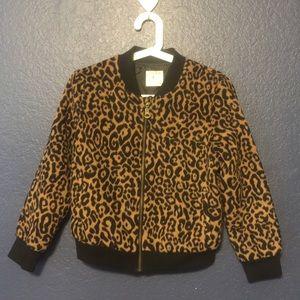 ZARA GIRLS KNITWEAR Animal Print Outerwear Jacket